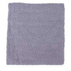Popolini gebreid dekentje van wol grijs
