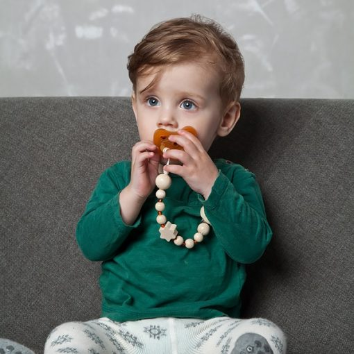 Grunspecht houten speenketting met amber